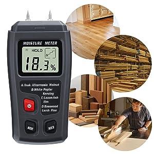Profesional LCD Medidor de Humedad Digital?GOCHANGE 0-99% Medidor de Humedad de Madera Detector con Agujas del Electrodo Integrada/en Madera y Pared,Cartón,Papel,Algodón