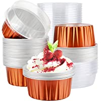 "Aluminum Foil Cups, Eusoar 5 oz 50pcs Baking Cups with Lids, 3.34x2.59x2.35"" 125ml Snacks Desserts Flan, Cupcake Crisp…"