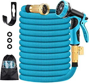 """fengyi Garden Hose Expandable,50 FT Flexible Water Hose Pipe with 3/4"""" Solid Brass Fittings,Leak-Proof Lightweight Retractable Garden Hose Heavy Duty with 9 Function Nozzle for Yard Gardening"""