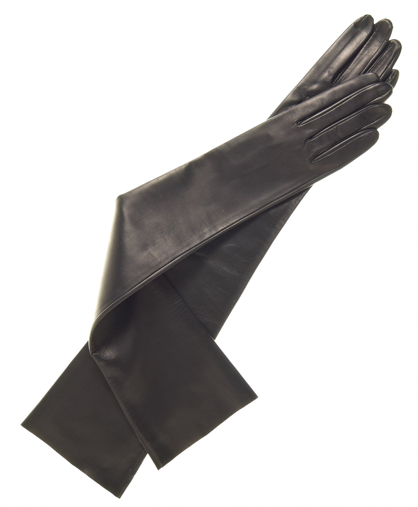 Fratelli Orsini Women's Italian Unlined Opera Length Leather Gloves Size 7 1/2 Color Black