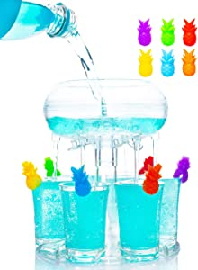6 Shot Glass Dispenser and Holder with 6 Pcs Acrylic Cup£¬Drinking Games Wine Dispenser for Weekend Party Cocktail Parties