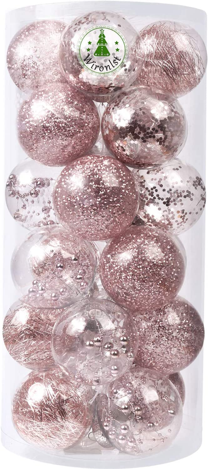 Amazon Com Wironlst 70mm 2 76 Christmas Ball Ornaments Shatterproof Clear Large Plastic Hanging Ball Decorative Baubles Set With Stuffed Delicate Decorations 24 Counts Rose Gold Kitchen Dining