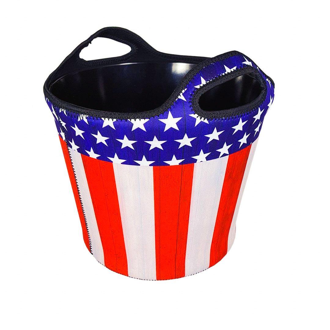 BREKX Insulated American Flag Neoprene Beverage Ice Bucket Party Chiller - 5 QT. Patriotic Home Decor