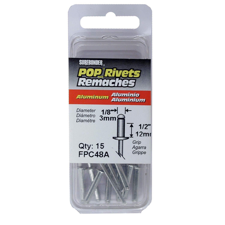 Long Aluminum Rivets - 1/8'' Diameter, 1/2'' Grip - 15 ct.