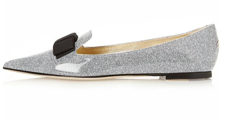 Eldof Women's Flats, Pointed Toe Flats Pumps, Patent Leather Flats Pumps, Walking Dress Office Classic Comfortable Flats B07F11446B 7.5 B(M) US|Silver-glitter