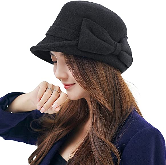 a7cb5af0eb7f1e ... SIGGI Womens 1920s Vintage Wool Felt Cloche Bucket Bowler Hat Winter  Crushable ...