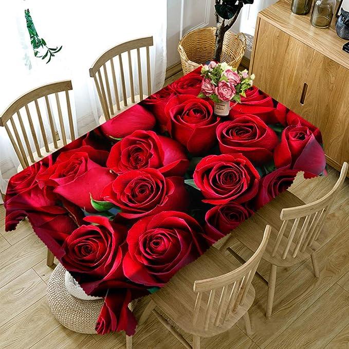LB Rosa roja Mantel Flores románticas Manteles,90x150CM 3D ...