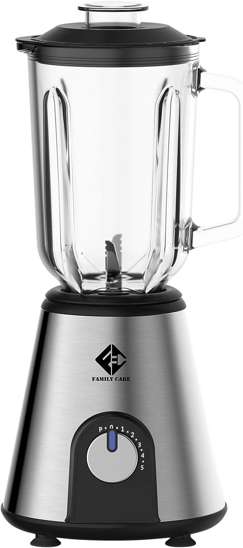 Family Care Batidora de vaso de 1000 W, jarra de cristal 1.5L, cuchilla 6 hojas acero inoxidable, 7 velocidades y turbo, base Acero inoxidable