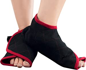 Bluestone Hot or Cold Foot Wrap- Microwaveable or Freezable Pad for Pain Relief - Heat or Cooling Therapy with Natural Buckwheat Filling