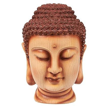 Juvale Buddha Head Statue   Garden Zen Outdoor Buddha Statue, Resin Buddha  Bust For Garden