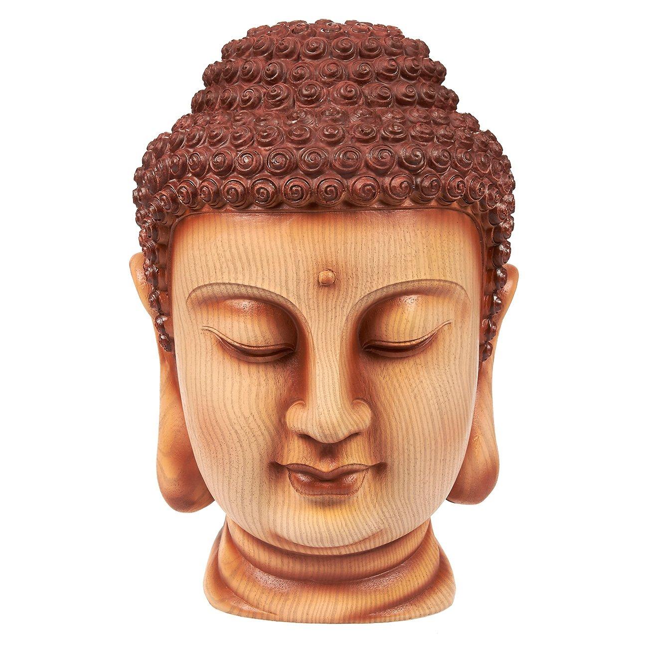 Juvale Buddha Head Statue - Garden Zen Outdoor Buddha Statue, Resin Buddha Bust for Garden, Yard, Interior Decoration, Brown - 6 x 11.5 x 7 Inches