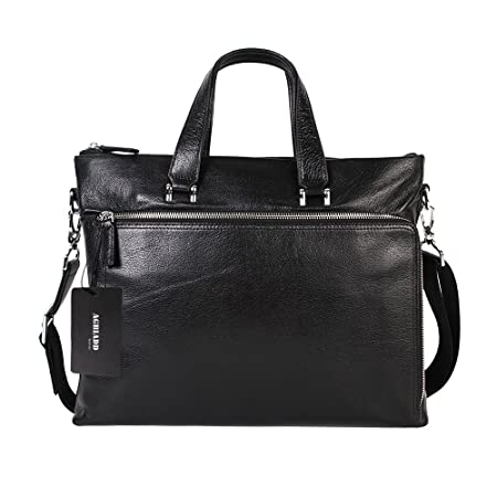 AGBIADD Luggage Leather Slim Briefcase Laptop Handbag Messenger Business Bags for Men