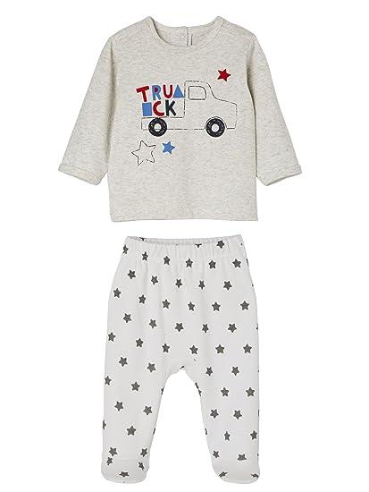 VERTBAUDET Lote de 2 pijamas para bebé de 2 prendas, de algodón BLANCO CLARO BICOLOR
