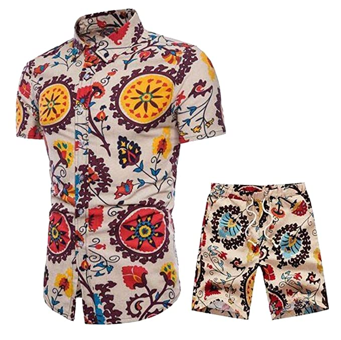 9c1961a5ec2d Jotebriyo Men Shirt Beach Shorts African Floral Print 2 Piece Cotton Linen  Outfits Summer Sets 1