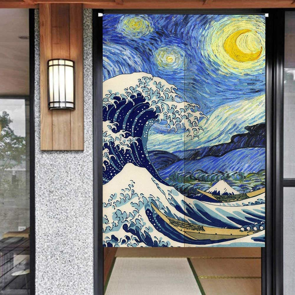 Ofat Home Japanese Noren Doorway Curtain Tapestry Window Blind The Great Wave And Starry Night Blue 33 5 X 59 Customizable Kitchen Dining