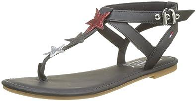 Hilfiger Denim Damen Flat Sandal Glitter Badge T Spangen