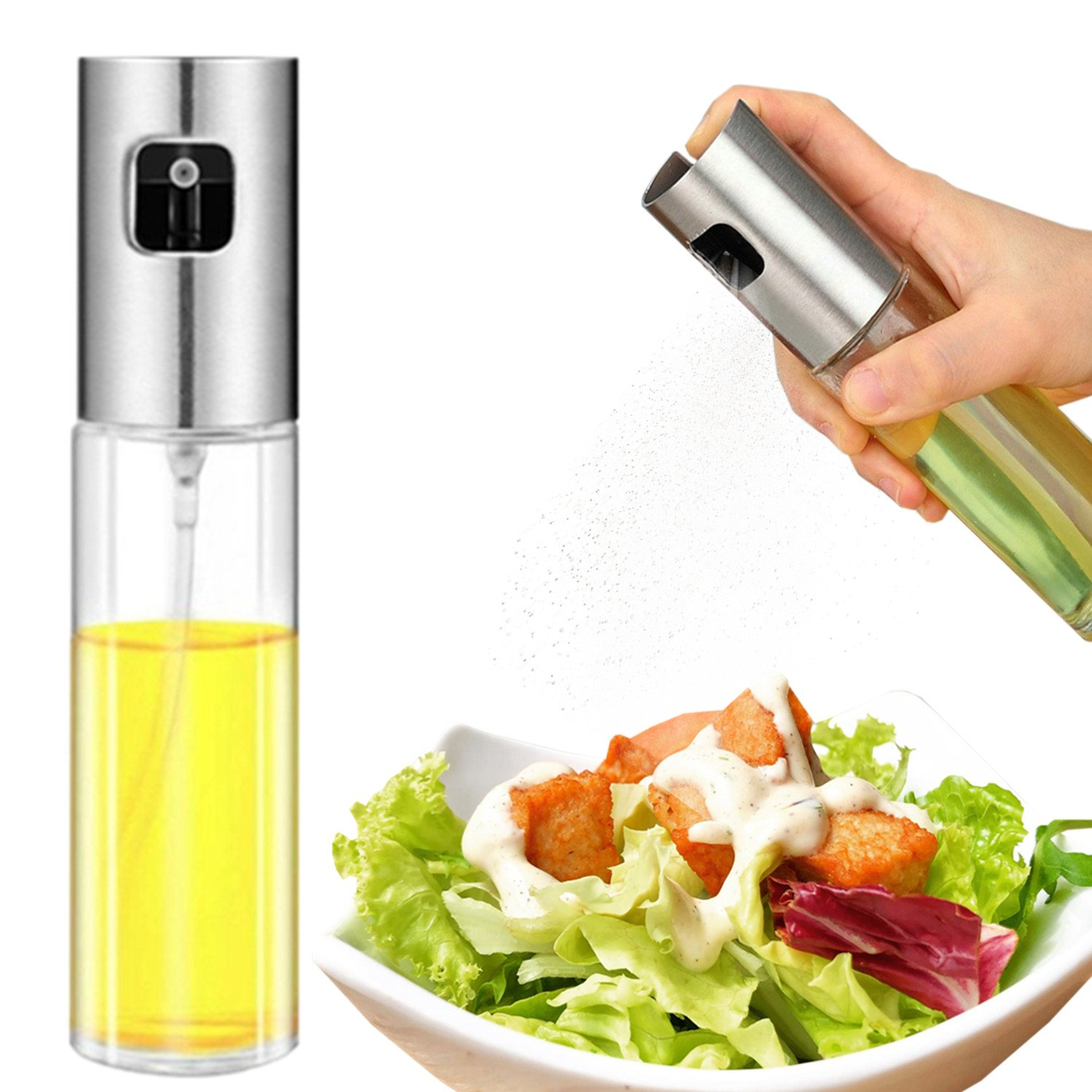 Olive Oil Sprayer, Food-grade Glass Oil Spray Bottle Oil Misters Vinegar Bottle Oil Dispenser for Cooking, Salad, BBQ, Kitchen Baking, Roasting, 3.42-ounce Capacity