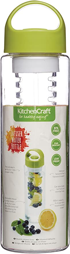 17.5 fl oz KitchenCraft Healthy Eating BPA-Free Fruit Infuser Water Bottle 500 ml