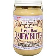 Fresh-Pure-Raw Smooth Creamy Cashew Butter Rejuvenative Foods Organic Certified Low-Temp-Ground Artisan-Ayurvedic-Vegan In-Glass Protein-Antioxidant-Vitamin-Mineral-Nutrition-8 oz