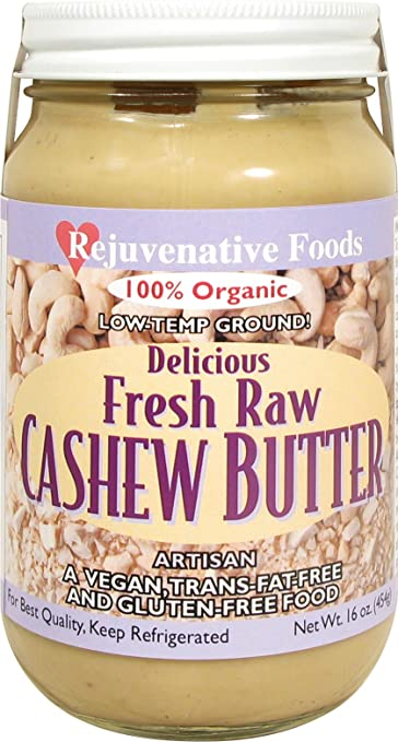 Fresh-Pure-Raw Smooth Creamy Cashew Butter Rejuvenative Foods Organic Certified Low-Temp