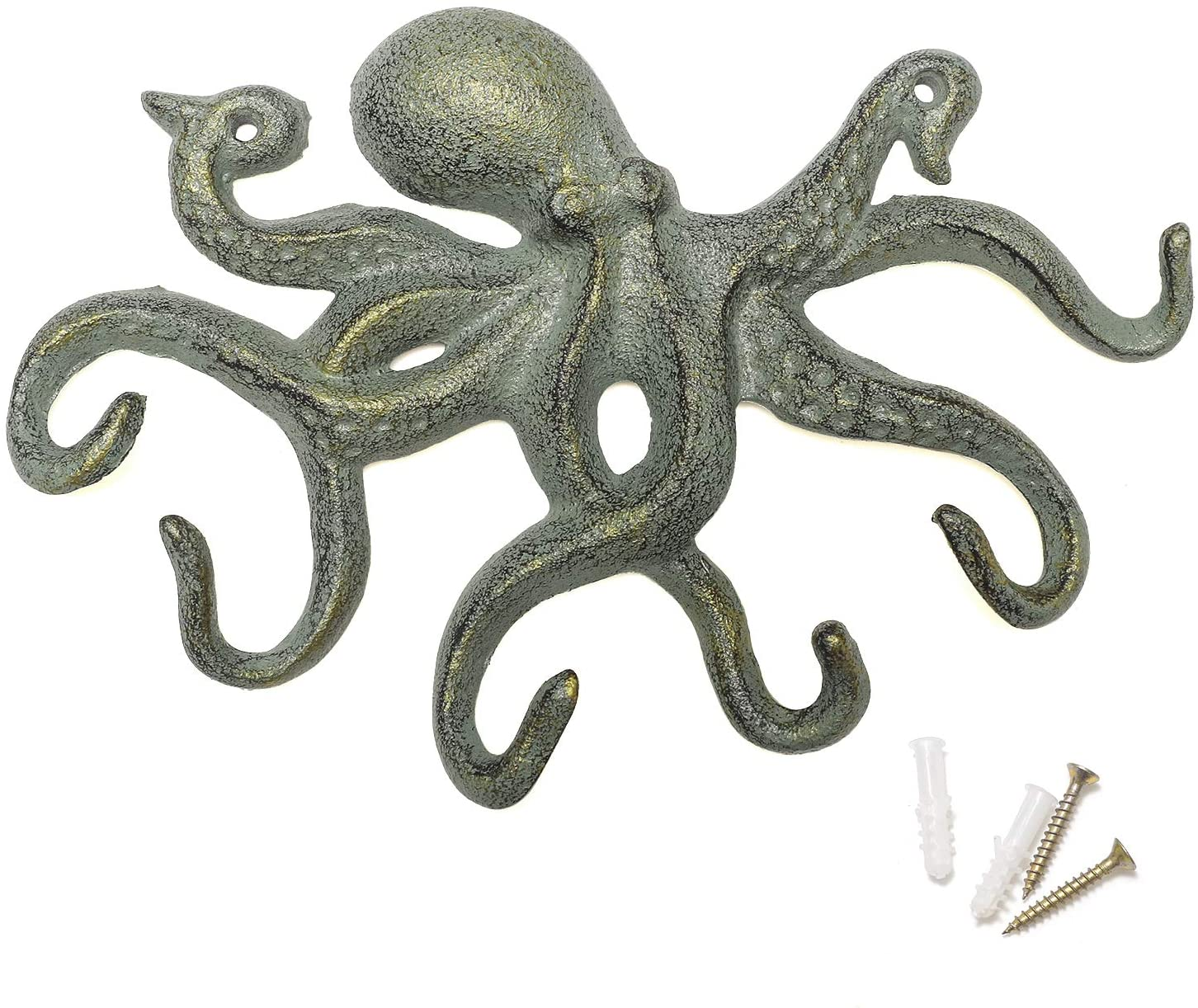 A3 Set of 3 Brown Cast Iron Octopus Tentacle Metal Wall Hook