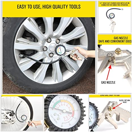 Breewell Air Tyre Inflator Pressure 220 psi Meter Car Truck Tire Pump Hose Gauge Compressor Tools