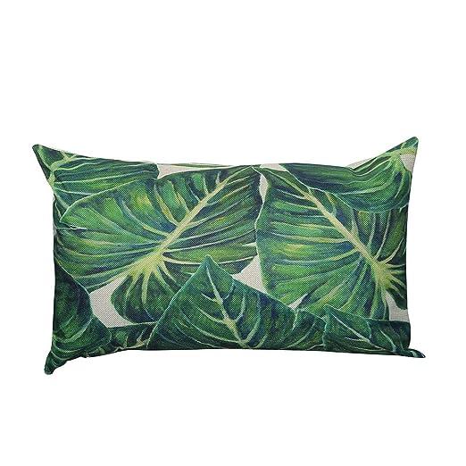 LEEDY - Funda de cojín para sofá de salón o Dormitorio con Cremallera Invisible, 30,5 x 50,8 cm, Lino, D, Medium