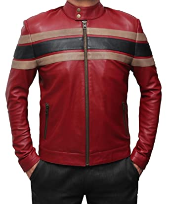 Nevada Mens Red Leather Jacket - Slim Fit Genuine Motorcycle Leather Jacket at Amazon Mens Clothing store: