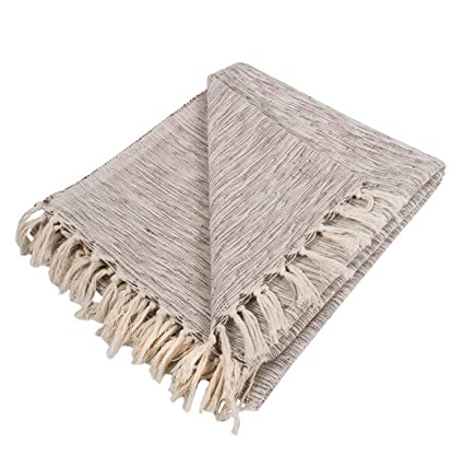 422709df0 Hebel Rustic Farmhou Cotton Variegated Blanket Throw for Chair, Couch,  Picnic, Camping,