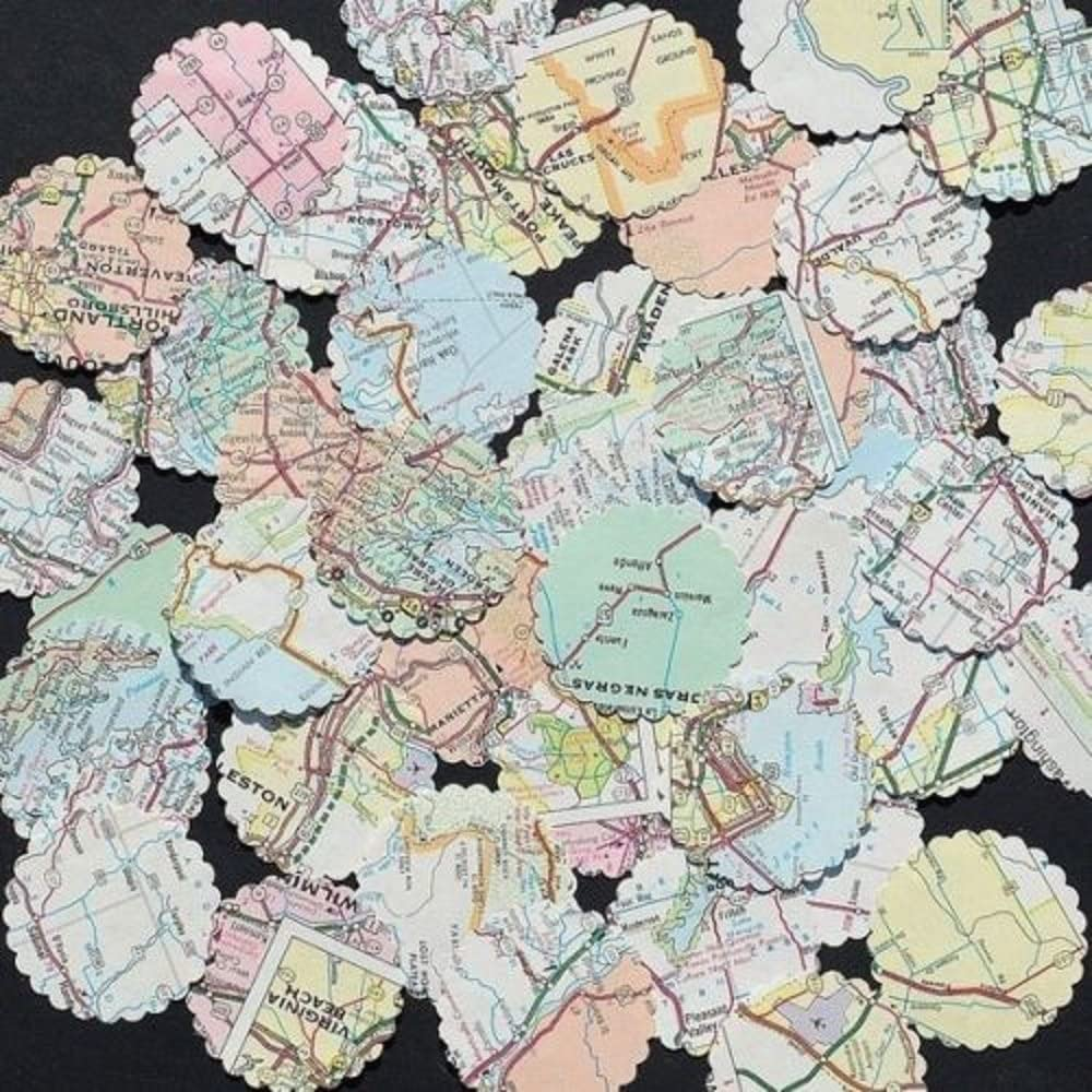 Designs by DH Confetti 100 pieces Paper Scalloped Circles Map Travel Atlas Birthday Wedding Bon Voyage World Party Decor