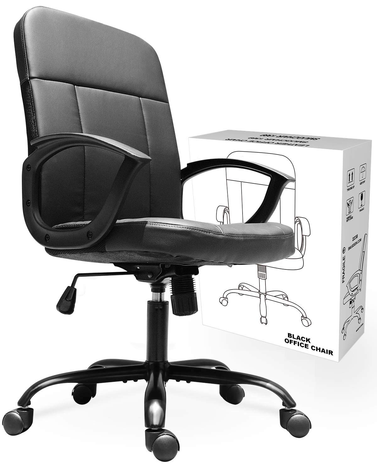 Office Chair,Mid Back Premium Bonded Leather Office Computer Swivel Desk Task Chair, ErgonomicExecutiveChairwith Lumbar Padding and Armrests by SMUGCHAIR