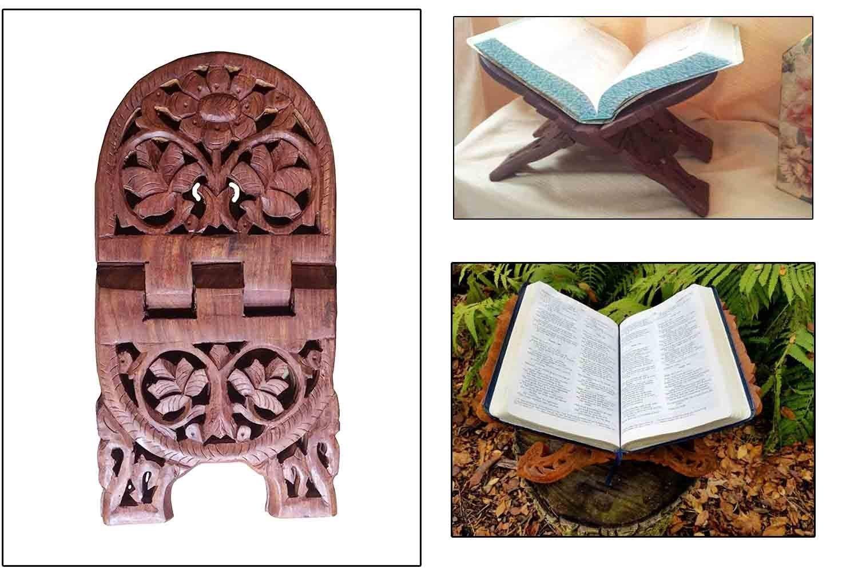Cadeau pour No/ël ou danniversaire de vos proches Nouveaut/é Exquisite main pliant religieuse Support /à du livre en bois sculpt/é de fleurs design incurv/é
