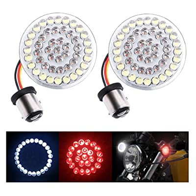 """Fuguang [2PC-2""""] Motorcycle Front LED Turn Signal Lights 1157 Front Running/Turning Lights White with Red for Harley Davidson Motorcycles, No Smoke Lenses (White & Red, 1157 Front Turn Signal Light): Automotive"""
