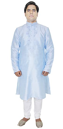 81f54aa4062c Image Unavailable. Image not available for. Color  Long Sleeve Kurta Pajama  Mens Dress High Neck Silk Casual Shirts Tops Pyjama ...