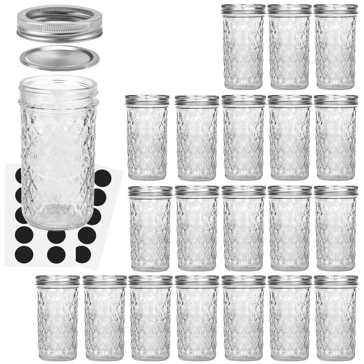 Mason Jars 12 OZ, VERONES Canning Jars Jelly Jars With Regular Lids, Ideal for Jam, Honey, Wedding Favors, Shower Favors, Baby Foods, 20 PACK