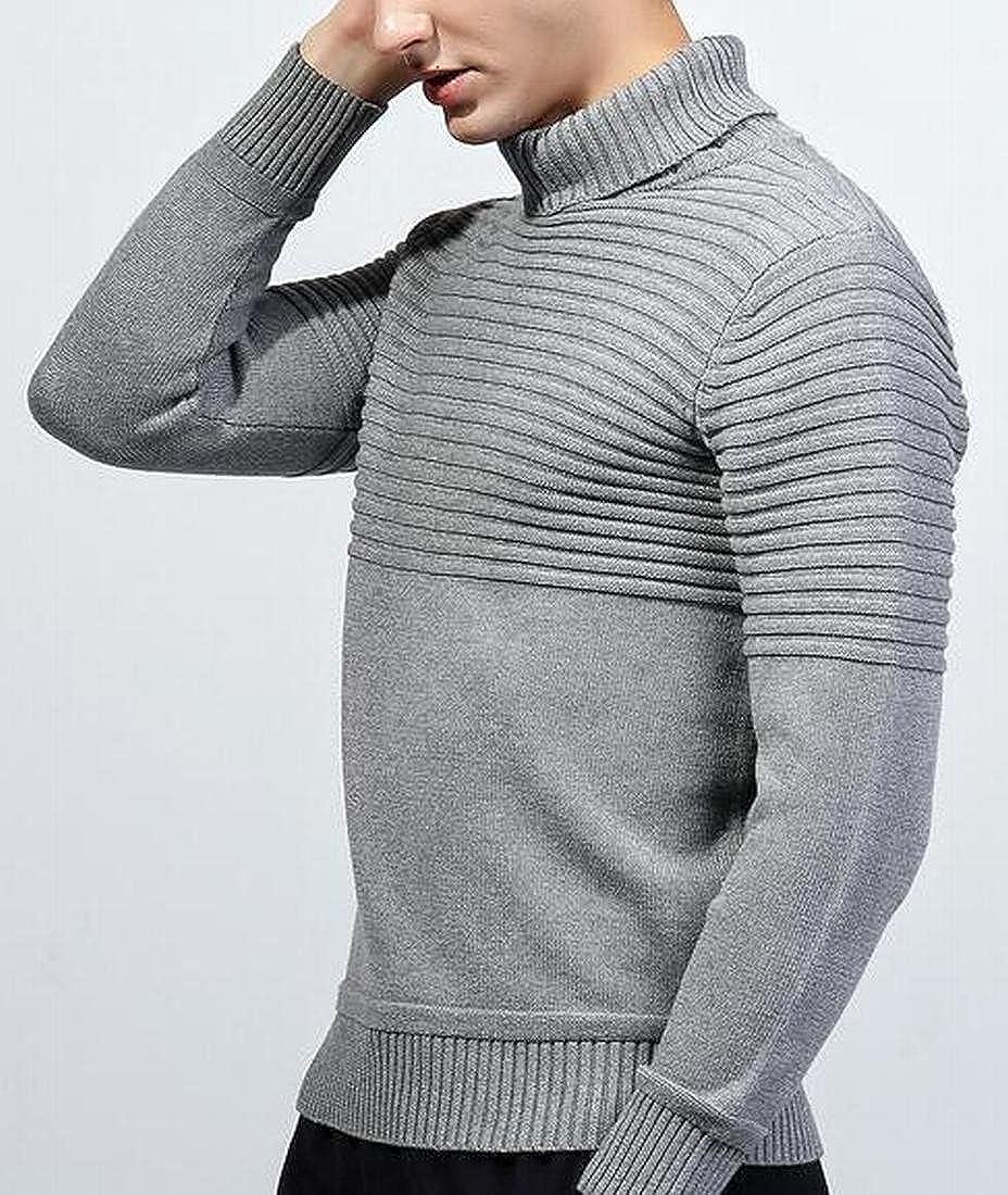 HTOOHTOOH Mens Solid Turtleneck Long Sleeve Slim Fit Knit Pullover Sweater