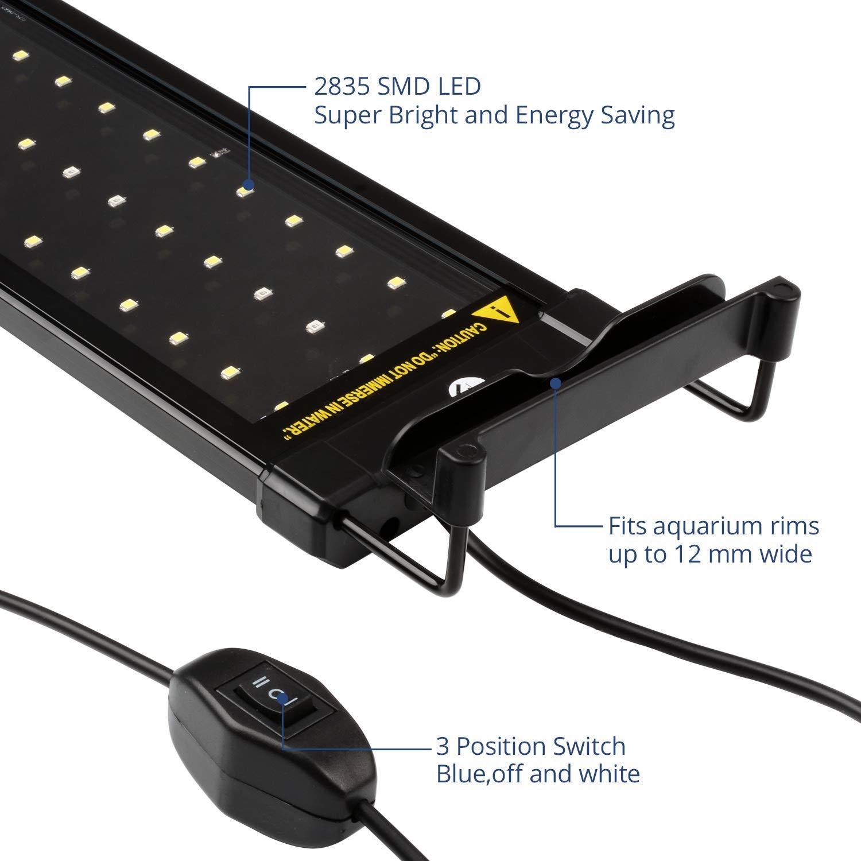 NICREW Luz LED Acuario, Pantalla LED Acuario, Iluminacion LED para Acuarios Plantados Lampara LED para Peceras 72-92 cm, 18W, 7000K con Enchufe: Amazon.es: ...