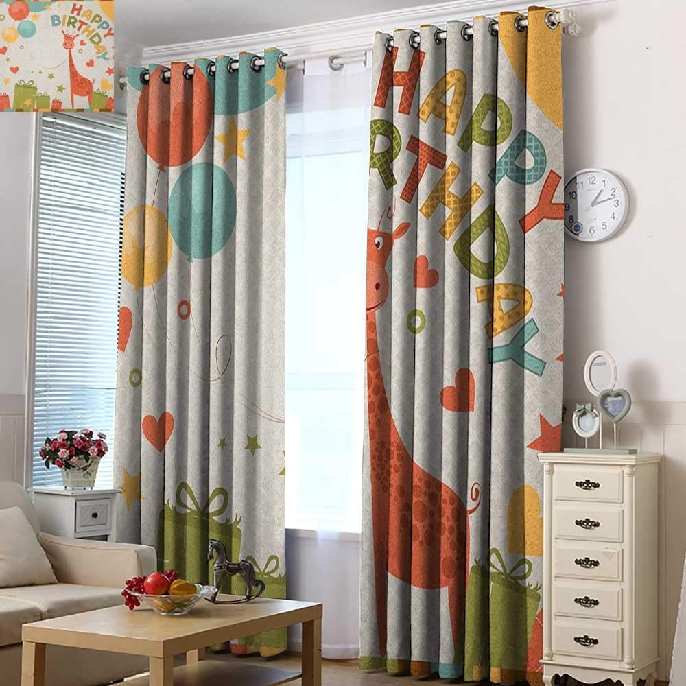 Acelik Indoor/Outdoor Curtains Kids Birthday Old Cartoon Giraffe with Box Balloons Stars Celebration Image Room Darkening, Noise Reducing 72'' W x 84'' L Green Pink and Marigold