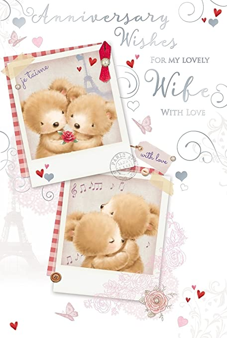 wife wedding anniversary card bears red rose music notes