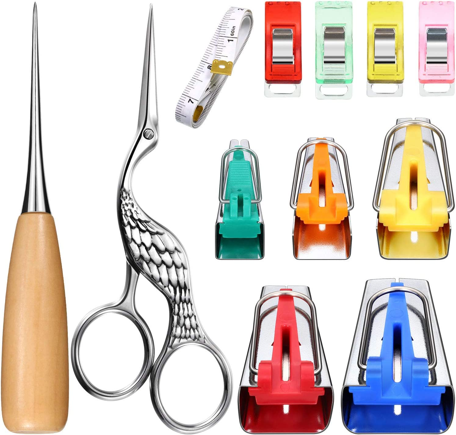 13 Pieces Bias Tape Maker Kit Set 5 Sizes 6mm 9mm 12mm 18mm 25mm Fabric Bias Tape Maker DIY Sewing Tools with 5 Pieces Cloth Clips Awl Sewing Craft Scissor and Double-Scale Soft Tape Measure