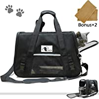Soft-Sided Cat Carrier, Pet Travel Carrier Airline Approved, Two Sideds Expansion Pet Tote Bag with Washable Bedding, Collapsible Pet Travel Carrier for Small Dogs&Cats (All Black (not Expandable))