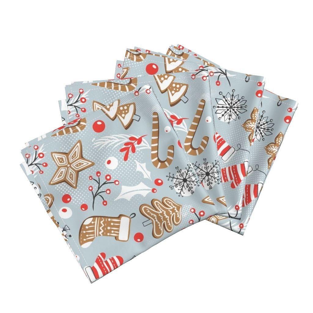 Gingerbread Christmas Holiday Baking Cookies Gray Retro Organic Sateen Dinner Napkins Gingerbread Dreams - Steel by Heatherdutton Set of 4 Dinner Napkins by Roostery