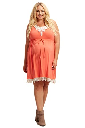 5dfb36f53c Image Unavailable. Image not available for. Color  PinkBlush Maternity  Coral Crochet Trim Plus Size Dress ...