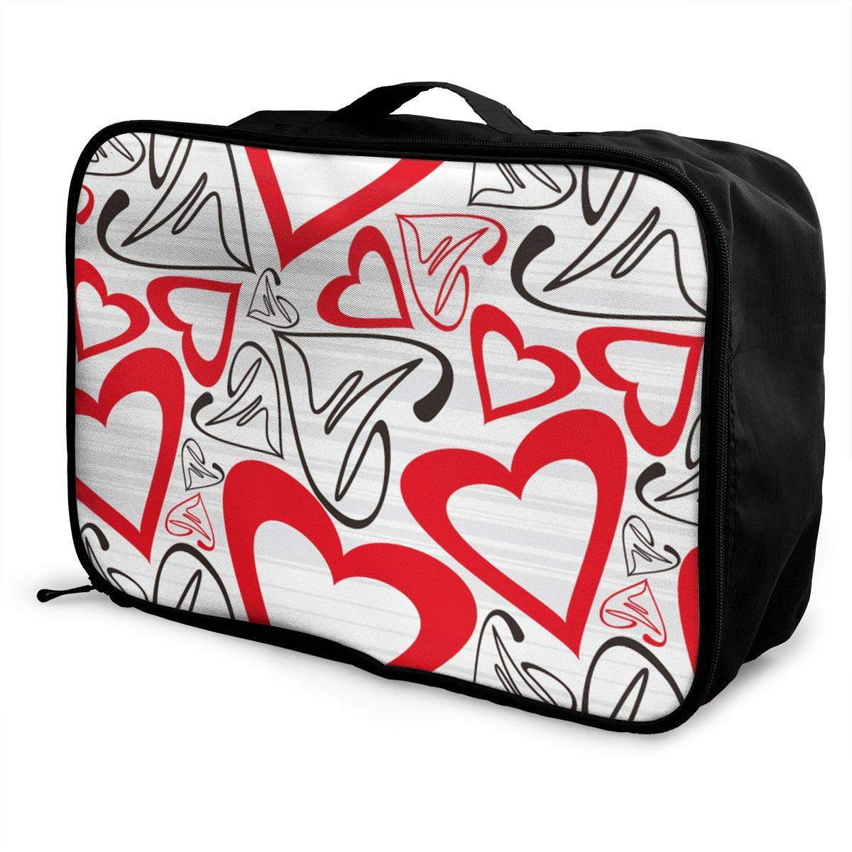 Travel Lightweight Waterproof Foldable Storage Carry Luggage Duffle Tote Bag JTRVW Luggage Bags for Travel Abstract Love Heart Ecg