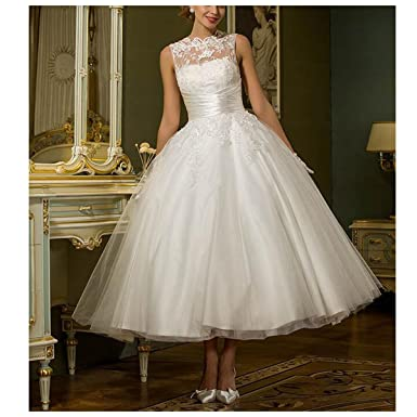 Fair Lady Lace V Back Ankle Length Ball Gown Wedding Dresses Bridal Dress Ivory