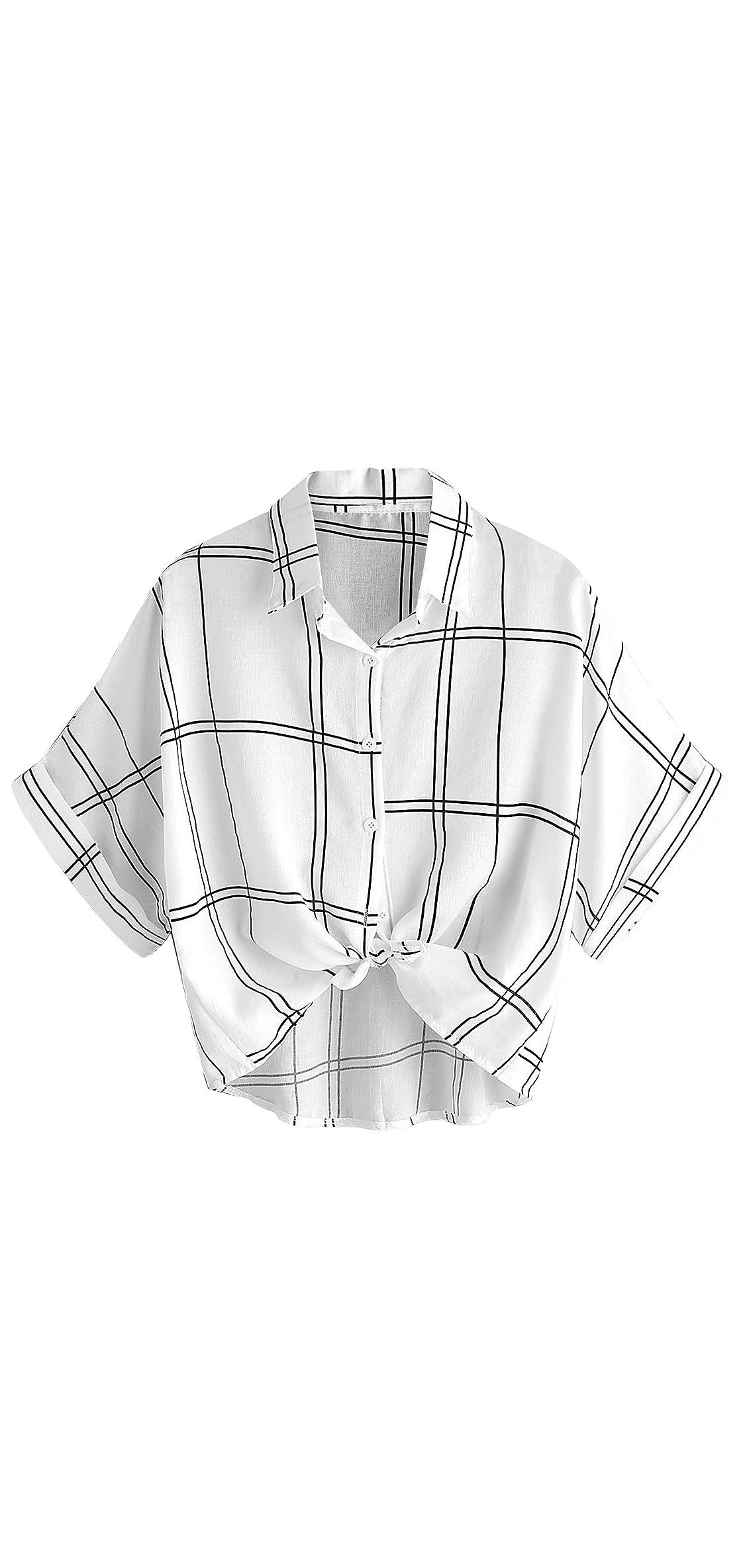 Women's Collar Button Down Shirt Summer Knot Front