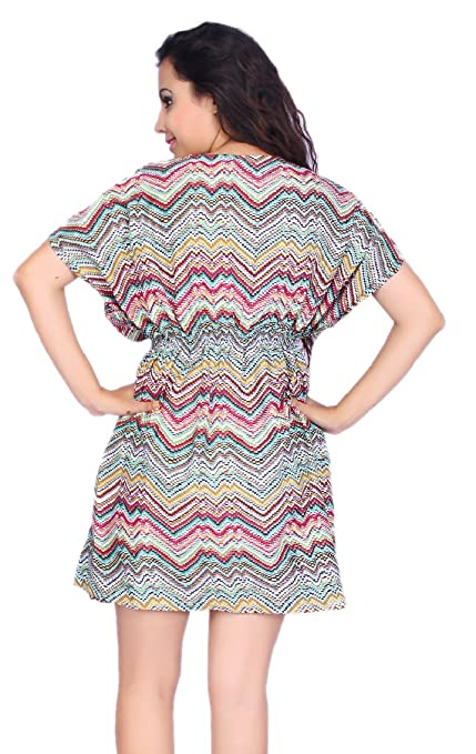 632761ee990 SUNROSE Zik-Zak Printed Party Wear Beach Short Kurta Cover Up Tunic Top at  Amazon Women's Clothing store: