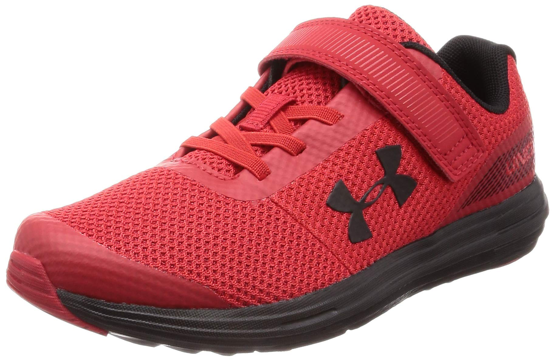 Under Armour Boys' Pre School Surge RN Alternate Closure Sneaker, Red (600)/Black, 3 by Under Armour (Image #1)