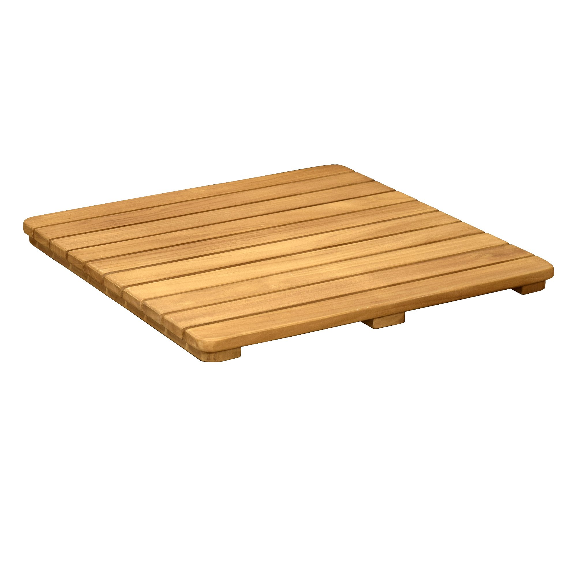 Asta Spa Teak Indoor/Outdoor Bath, Shower and Floor Teak Mat with Rounded Corners (20'' x 20'')