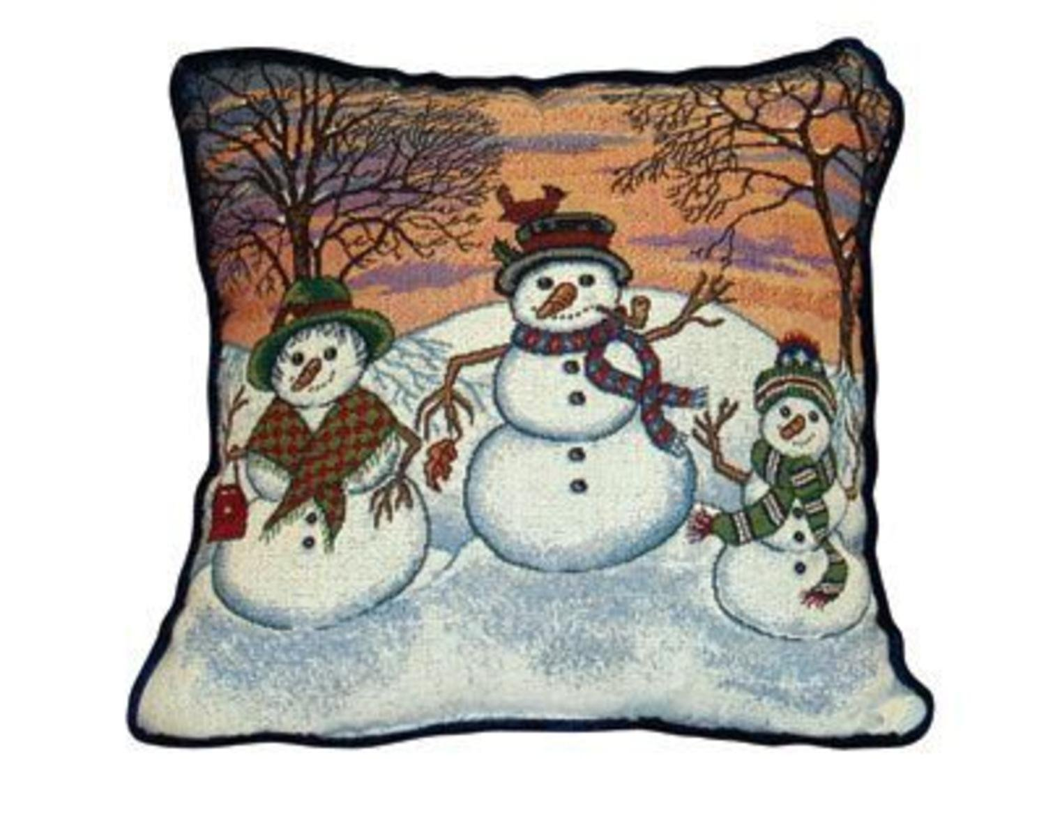 Amazon.com: Winter Snowman Theme Decorative Christmas Throw Pillow ...